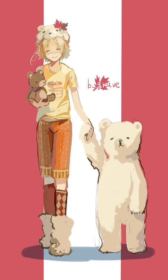Hetalia - Younger Canada with Kumajiro