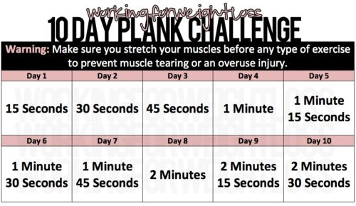 10 Day Plank Challenge.  I want to try this one!