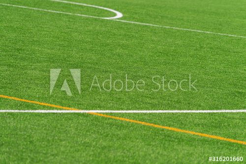 Green Artificial Grass Turf Soccer Football Field Background With White And Yellow Line Boundary Top View Spon Socc In 2020 Football Field Field Artificial Grass