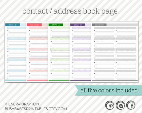 Contact List Printable Address Book Page INSTANT DOWNLOAD – Printable Contact List