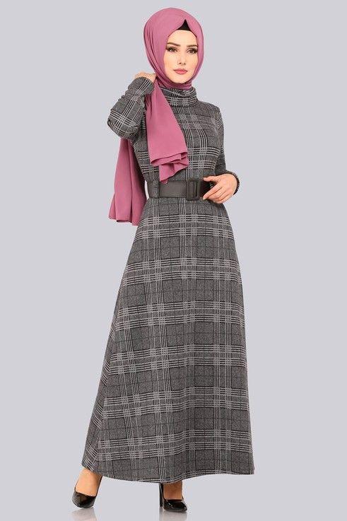 Modaselvim Elbise Bogazli Kislik Elbise 5488mp186 Gri Musluman Modasi Moda Stilleri Elbise Modelleri