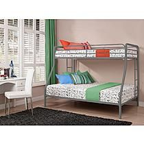 Dorel Home Furnishings Twin Over Full Bunk Bed Silver