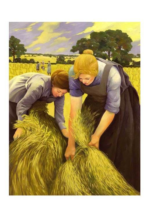 "Jacqueline, Land Girls, 36x48"", oil on canvas. http://www.jacquelineosborn.com/:"