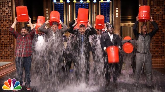 Pin for Later: The Top 14 Videos of Stars Taking the Ice Bucket Challenge Jimmy Fallon Rob Riggle, Horatio Sanz, Steve Higgins, and The Roots joined Jimmy on The Tonight Show!  Source: YouTube user The Tonight Show Starring Jimmy Fallon