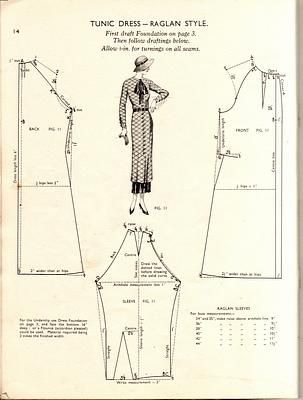 1930s tunic/ dress with raglan sleeves Vintage Dress Pattern