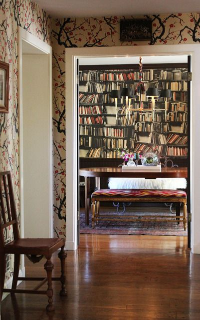 Beautiful wallpaper, and of course. Books. lots of books.