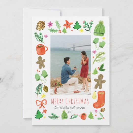 Iconic Christmas Watercolor Holiday Card Zazzle Com Holiday