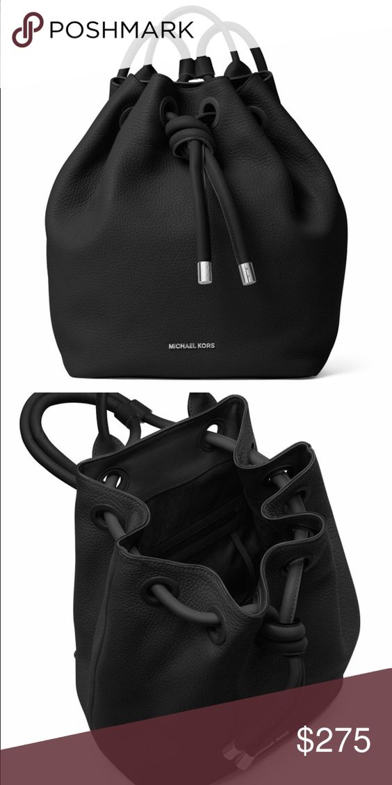 MICHAEL KORS Dalia Large Leather Backpack (Black) Has a knotted drawstring closure and soft, pebbled leather. Designed with a top handle and adjustable shoulder straps. Comes with dust bag Michael Kors Bags Backpacks