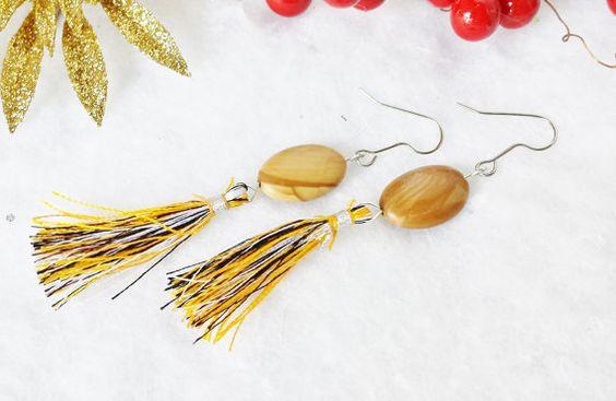 Tiger Skin Jasper Tassel Earrings, Brown Jasper Gemstone Dangle Earrings with Yellow and Chocolate Brown Silk Tassels, Long Boho Earrings