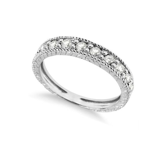 Allurez Diamond Anniversary Ring 14k White Gold by Morris & David... (£462) ❤ liked on Polyvore featuring jewelry, rings, 14 karat gold ring, anniversary rings, eternity band ring, 14k diamond ring and diamond eternity band ring