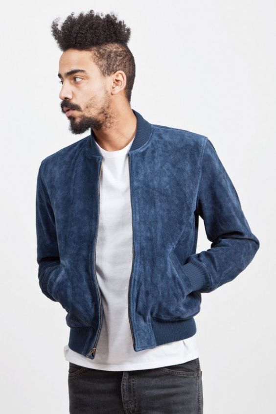 Blue Suede Blazer Mens