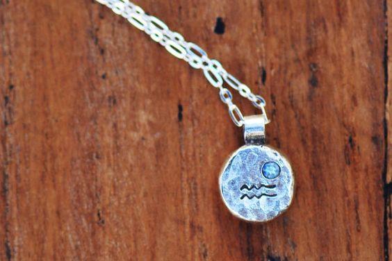 Element Aquarius Zodiac Necklace- Sterling Silver