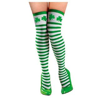 Striped St. Patrick's Day Thigh High Stockings