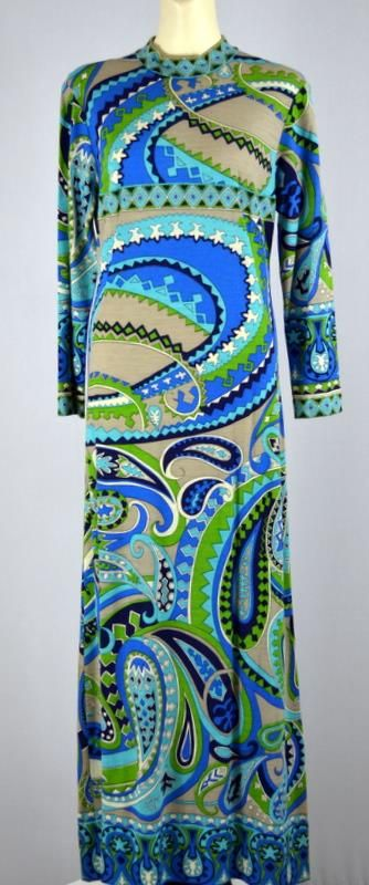 Vintage 70s Pucci-esque woolen maxi made in Austria (in my private vintage collection).