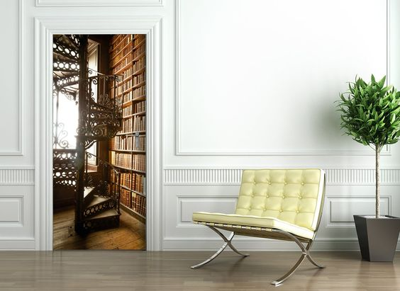 Türtapete selbstklebend Türposter - BIBLIOTHEK - Fototapete - fototapeten für die küche