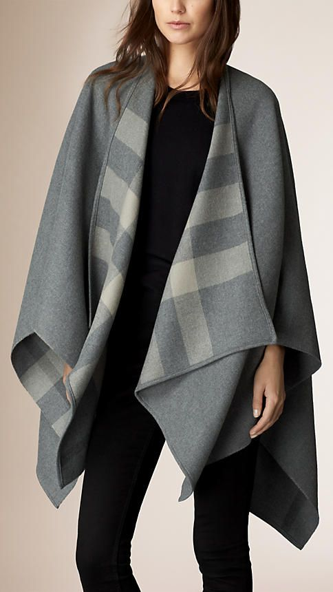 Burberry Pale Grey Check-Lined Wool Wrap - Elegant wrap in extra fine Merino wool. Distinctive check interior, bound edges. Discover the scarves collection at Burberry.com