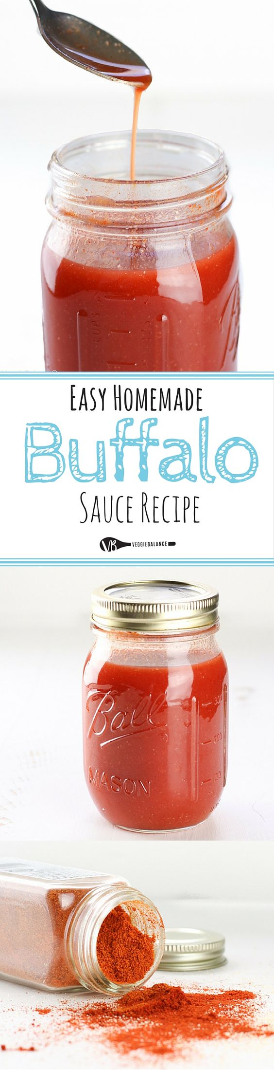 Homemade Buffalo Sauce recipe. How to make it at home with 4 simple ingredients that you probably already have on hand!  In no time you'll have homemade buffalo sauce coating your favorite chicken wings. {Gluten-Free, Dairy-Free, Vegetarian & Vegan}