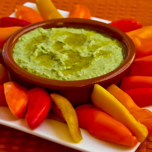 Green Garbanzo Hummus - it's worth all the shelling.