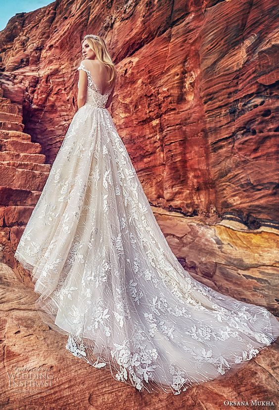 oksana mukha 2018 bridal off the shoulder deep plunging sweetheart neck full embellishment princess ball gown wedding dress open v back royal train (aura) bv -- Oksana Mukha 2018 Wedding Dresses