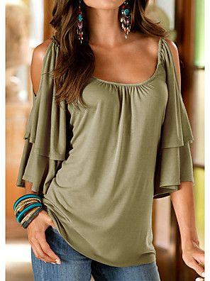 2965073e2 Mulheres Camiseta - Para Noite Sólido Solto   Verão   Frufru   Com ...