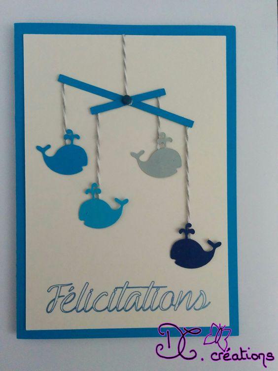 Un carte de félicitations pour une naissance.A personnaliser (couleurs, objet du mobile ...) A retrouver sur notre boutique dccreations.alittlemarket.com