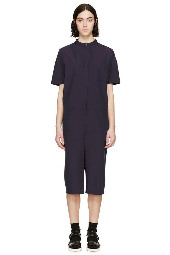 Studio Nicholson Navy Cotton Ryo Romper, Women's jumpsuits, WOMEN ...