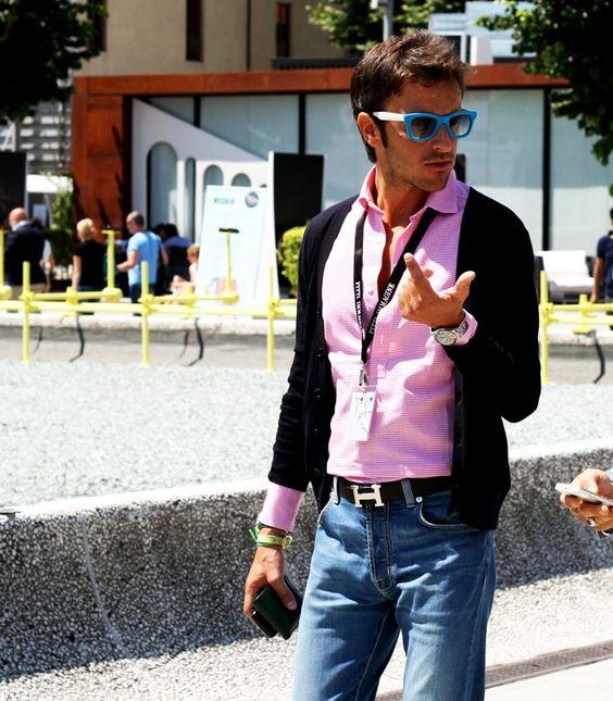 Pink shirt and Hermes belt.