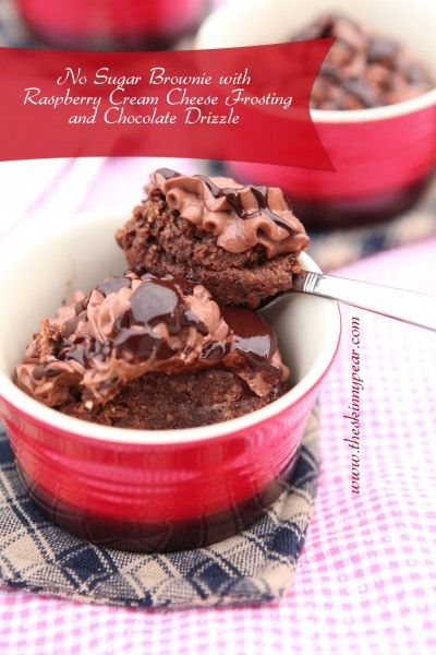No Sugar Brownies with Raspberry Cream Cheese Frosting