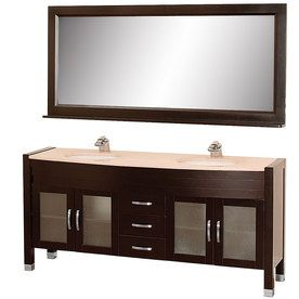 Wyndham Collection�Daytona 5-ft 11-in x 1-ft 10-in Espresso Undermount Double Sink Bathroom Vanity with Natural Marble Top