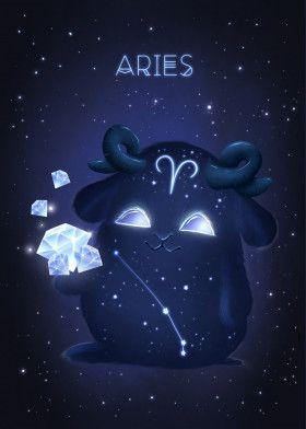 Aries Zodiac Monster Metal Poster Print Zuzana Ziakova Displate Aries Art Zodiac Art Aries Wallpaper