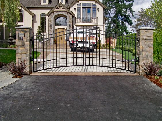 Double Swing Gate Fabricate At An Angle To Account For The