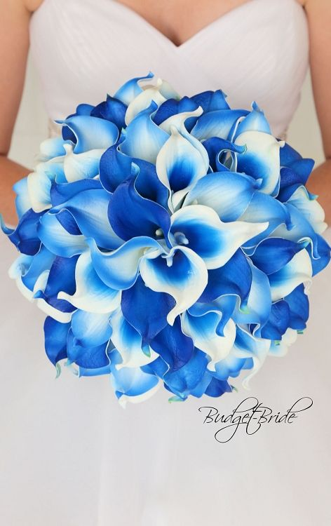 Calla Lily Real Touch Wedding Flowers In Horizon Royal Blue And White 65 Calla Lilies Pick Y Blue Wedding Bouquet Calla Lily Bouquet Wedding Calla Lily Wedding