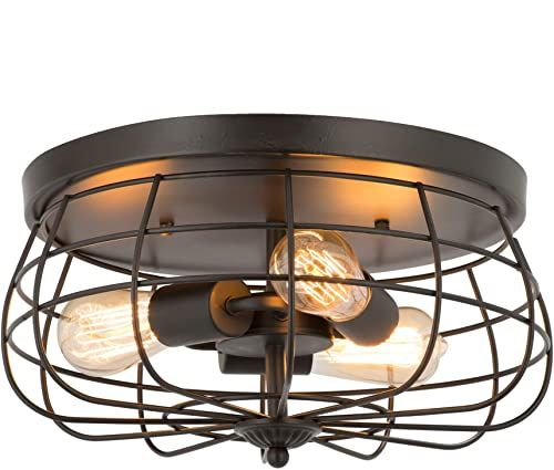 Amazing Offer On Co Z 15 Inch Industrial 3 Light Vintage Metal Cage Flush Mount Ceiling Light Oil Rubbed Bronze Finish Rustic Ceiling Lighting Fixture Bedroo In 2020 Light Fixtures Bedroom Ceiling Ceiling