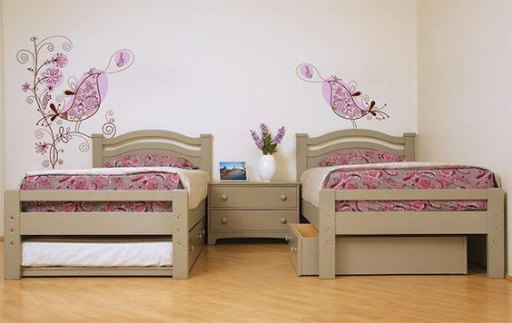 Camas individuales Estero con cama ocultable, charola Risco y cómoda