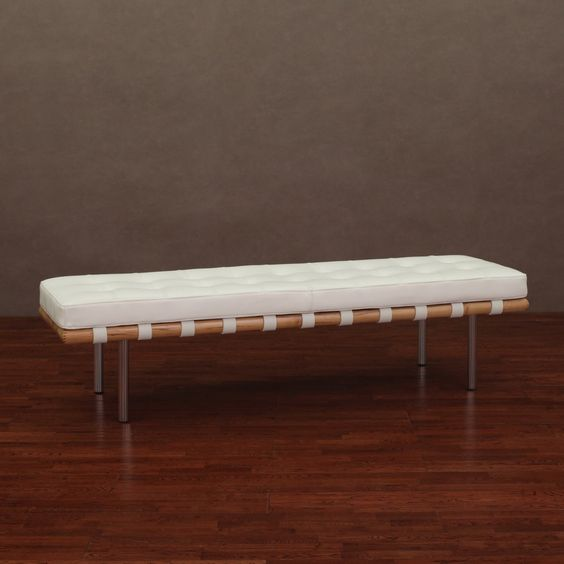 Andalucia Modern White Leather Bench Large 60-inch - Overstock™ Shopping - Great Deals on Benches