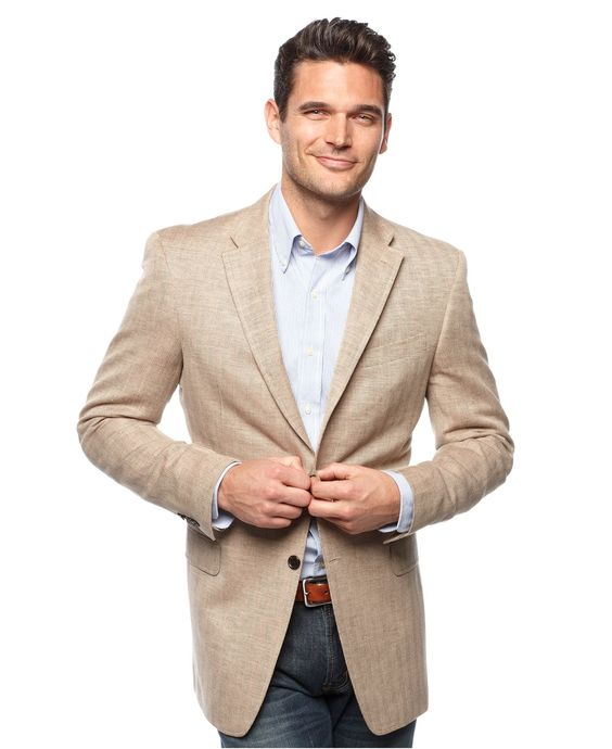 Tommy Hilfiger Jacket, Tan Herringbone Slim Fit Blazer - Mens ...