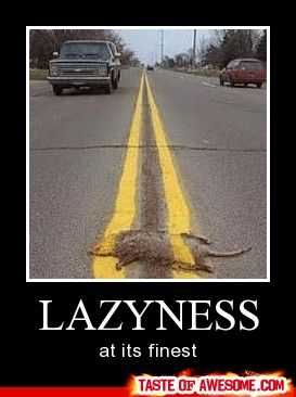 "Even though it's spelled ""laziness"", you get the idea. :P"