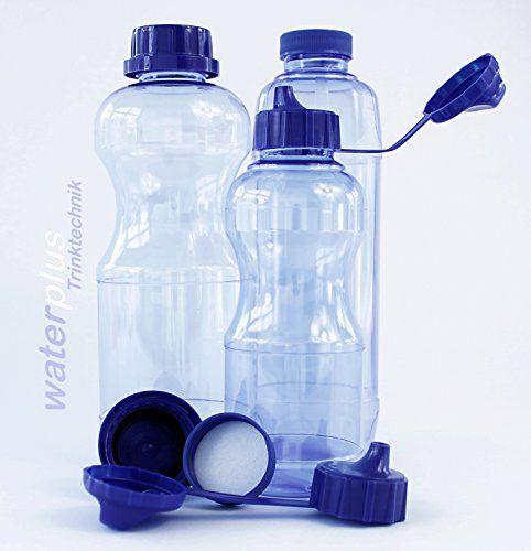 waterplus Tritan – Set de 8 botellas rellenables (3 redondas de 1 L, 2 cuadradas de 1 L, 3 redondas de 0,5 L, 5 tapones estándar, 4 tapones herméticos y 2 tapones con pitorro, sin plastificantes ni BPA, ideal para niños y deportistas, tapones de rosca, apertura grande (33 mm), se puede lavar en lavavajillas, apto para alimentos, no retiene sabores ni olores, no se rompe, estable a la presión, resistente hasta 100°C, esterizable, reciclable, incluye instrucciones de uso y limpieza…
