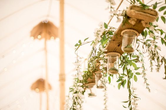 Hanging Floral Arrangement | PapaKata Sperry Tent | Rustic Wedding | Yellow Colour Scheme | Images by Wild Weddings | http://www.rockmywedding.co.uk/claire-tom-2/