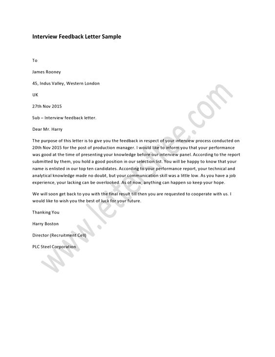 Sample #Interview Feedback #Letter, How to #Write a Interview - sample applicant rejection letter