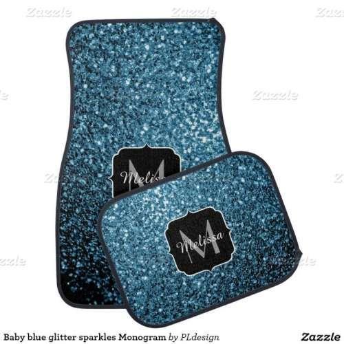 Beautiful Baby blue glitter sparkles Monogram Car Mat Set by #PLdesign #BlueSparkles #SparklesGift