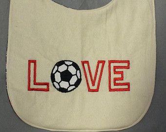 Love Soccer baby boy bib