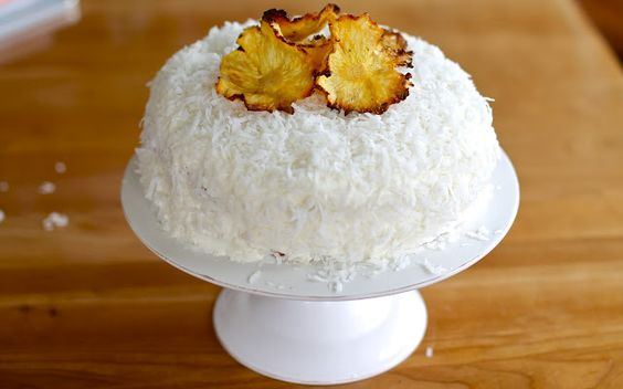 Piña Colada Cake with cream cheese and coconut frosting