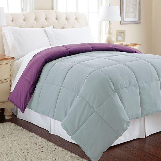 Solid Down-Alternative Reversible Comforter,