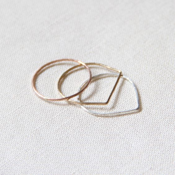 Set of Three SOLID 14k Rose Yellow or White Gold - Set of Modern Geometric Threads of Gold - Tiny Hammered Stacking Rings - Delicate Jewelry by MARYJOHN on Etsy https://www.etsy.com/listing/185677134/set-of-three-solid-14k-rose-yellow-or