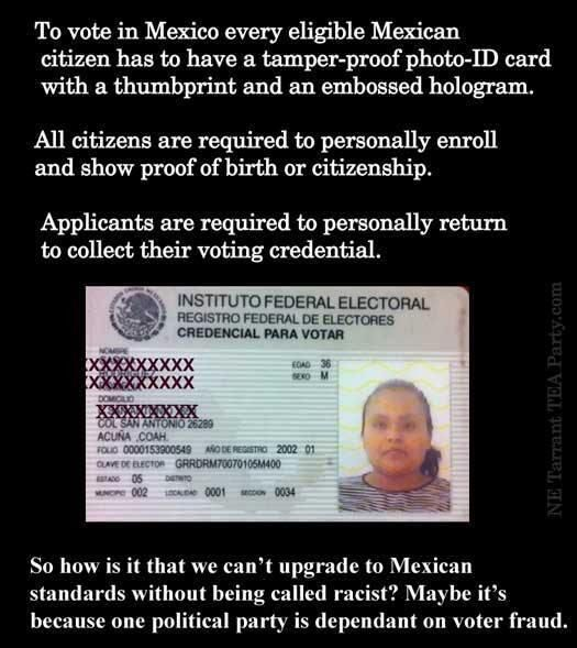 Mexico's voting rules.. and border protection is TOP NOTCH unlike Obama's sieve-like borders for USA...by design.