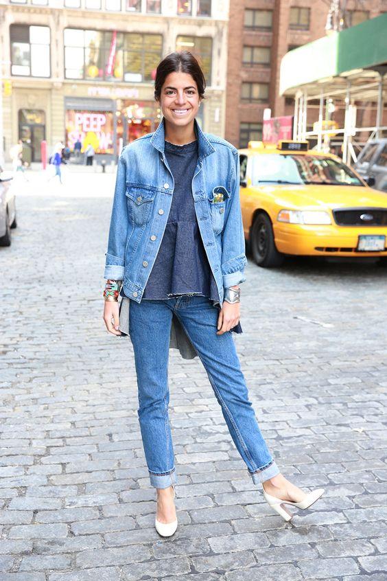 Leandra doubling her denim in NYC. #LeandraMedine #ManRepeller: