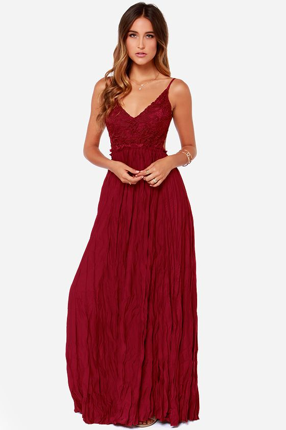 Snowy Meadow Crocheted Wine Red Maxi Dress  Chic Red maxi ...