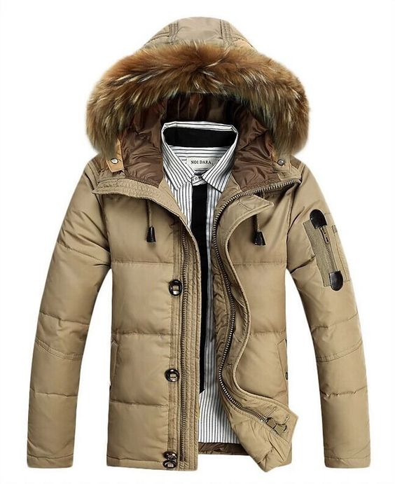 New Men Warm Duck Down Jacket Fur Collar Thick Winter Coat Outwear