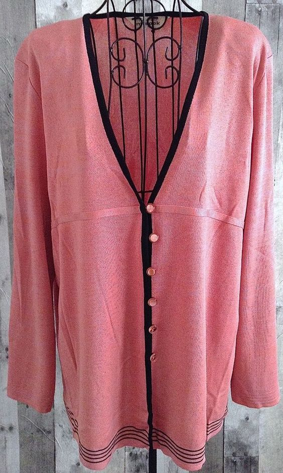 Exclusively Misook Jacket Cardigan Sweater Top Coral Blush Heather Size XL…